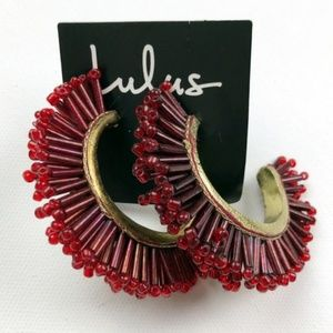 Lulu's Exquisite Burgundy Beaded Earrings - NWT